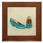 Vintage Blue Shoes Painting on Tile
