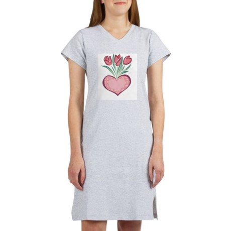 Heart and Tulips Women's Pink Nightshirt