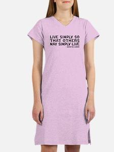 Quote - Gandhi - Live Simply Women's Nightshirt