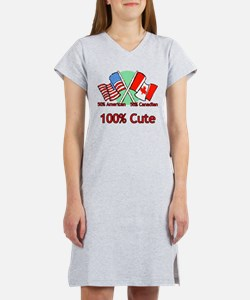 Canadian American 100% Cute Women's Nightshirt