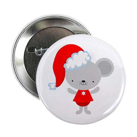 """Christmas Santa Mouse 2.25"""" Button"""