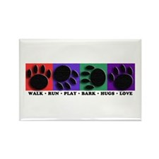 Colorful Paws Rectangle Magnet