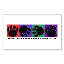 Colorful Paws Rectangle Decal