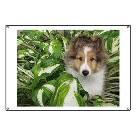Puppy in the Leaves Banner