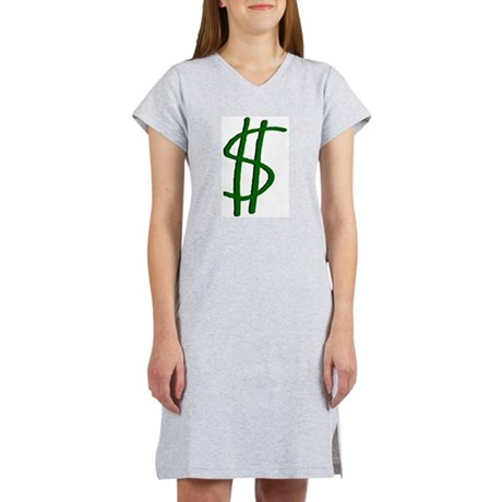 Money Dollar Sign Women's Pink Nightshirt