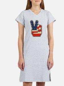 USA PEACE SIGN Women's Nightshirt