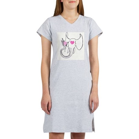 Elephant bouquet Women's Pink Nightshirt