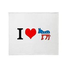 I Love Democrats Throw Blanket