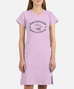 Wash Your Hand! Gray Women's Nightshirt