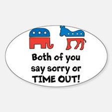 Bipartisan time out! Sticker (Oval)