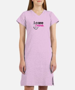 i care i nurse pink Women's Nightshirt