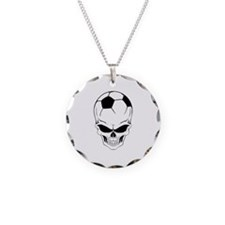 Soccer skull Necklace Circle Charm