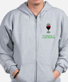 Dreaming of a Wine Christmas Zip Hoodie