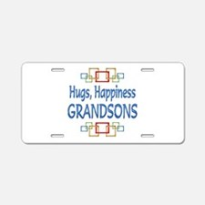 Grandson Hugs Aluminum License Plate