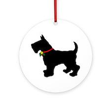 Scottish Terrier Silhouette Ornament (Round)