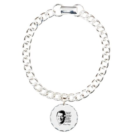 "Reagan Quote ""Tear Down This Wall"" Charm Bracelet,"