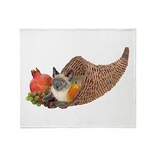 Cat in Cornucopia Throw Blanket