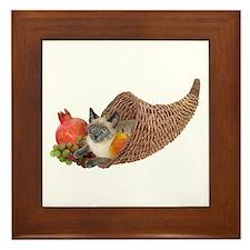 Cat in Cornucopia Framed Tile
