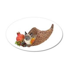 Cat in Cornucopia 22x14 Oval Wall Peel