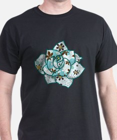 Blue Pattern Flower T-Shirt