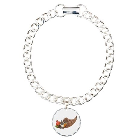 Cat in Cornucopia Charm Bracelet, One Charm