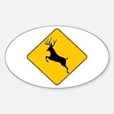 Deer crossing Sticker (Oval)