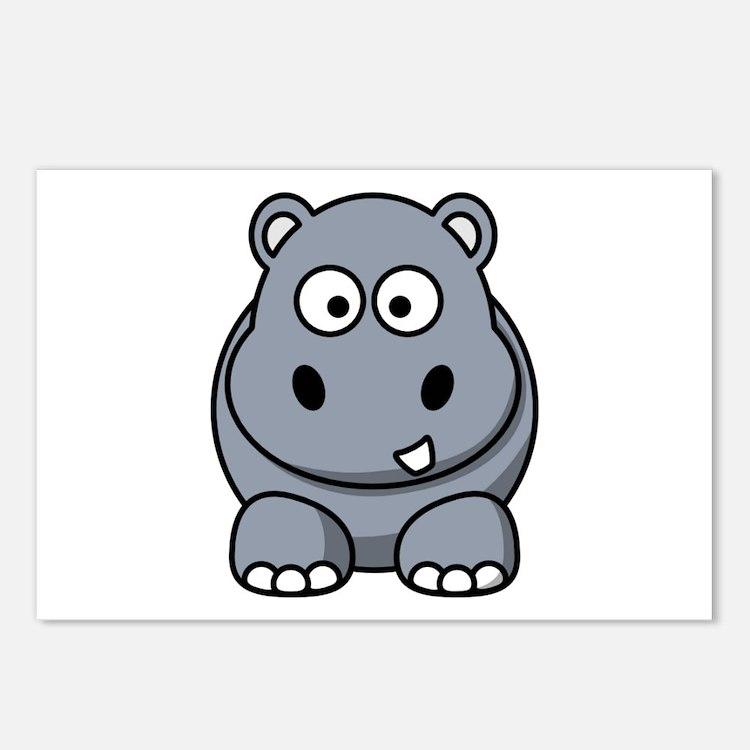 Cartoon Hippopotamus Postcards (Package of 8)
