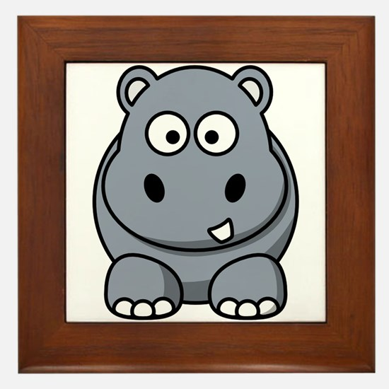 Cartoon Hippopotamus Framed Tile
