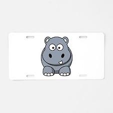 Cartoon Hippopotamus Aluminum License Plate
