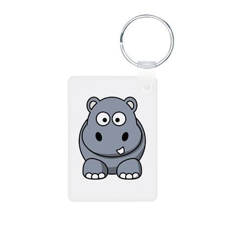 Cartoon Hippopotamus Aluminum Photo Keychain