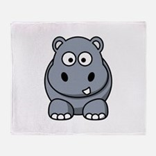 Cartoon Hippopotamus Throw Blanket