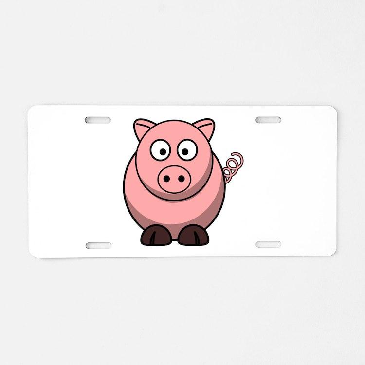 Cartoon Pig Aluminum License Plate
