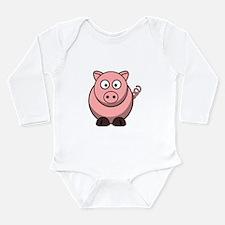 Cartoon Pig Long Sleeve Infant Bodysuit