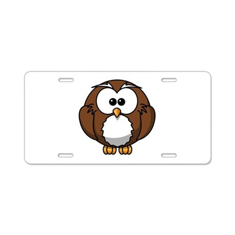 Cartoon Owl Aluminum License Plate