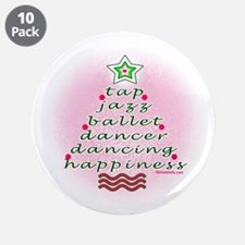 """Dancers' Christmas Tree 3.5"""" Button (10 pack)"""