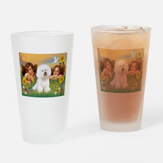 Angels & Bichon Frise Drinking Glass