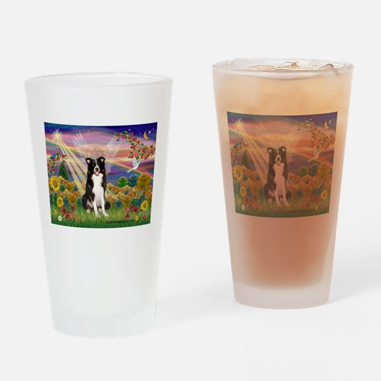 Autumn Angel / Border Collie Drinking Glass