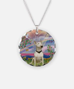 Cloud Angel /Bull Terrier Necklace Circle Charm