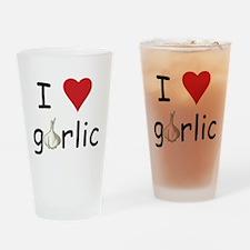 I Love Garlic Drinking Glass