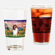 Autumn Angel / Collie (s&w) Drinking Glass