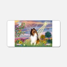 Cloud Angel & Collie Aluminum License Plate