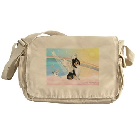 Clouds / Collie (tri) Messenger Bag