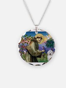 St Francis / Coton de Tulear Necklace