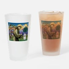 St Francis / Coton de Tulear Drinking Glass