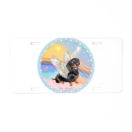 Clouds/Dachshund Angel Aluminum License Plate