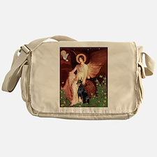Seated Angel & Dobie Messenger Bag