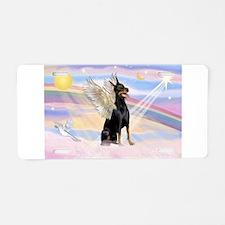 Dobie Angel in Clouds Aluminum License Plate