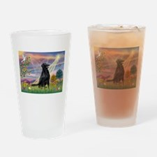 Cloud Angel / Flat-Coated Ret Drinking Glass