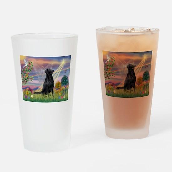 Cloud Angel / Flat-Coated Ret Drinking Glass