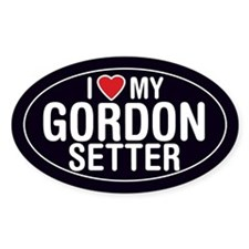 I Love My Gordon Setter Oval Sticker/Decal